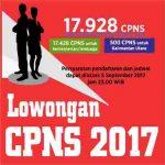 INFORMASI LOWONGAN CPNS 2017 |Pendaftaran 11-25 September 2017 | Lihat Link